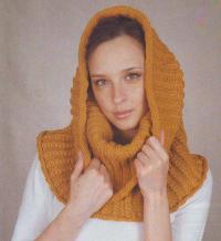 Как связать спицами теплый шарф-капюшон