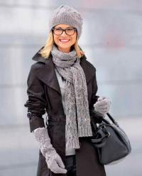 Как связать спицами узорчатый шарфик, шапочка и длинные перчатки