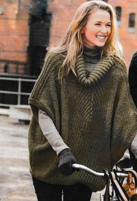 Как связать спицами пончо-пуловер оверсайз с объемным воротником