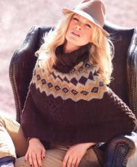 Как связать спицами пуловер - пончо с жаккардовой кокеткой