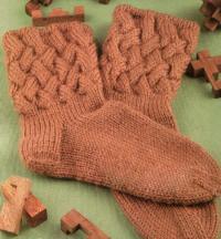 Как связать спицами носки с объемным плетеным узором