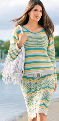Как связать спицами цветная юбка с волнистым узором