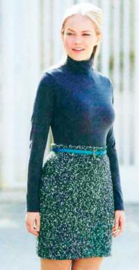Как связать спицами классическая юбка из твида с поясом на талии