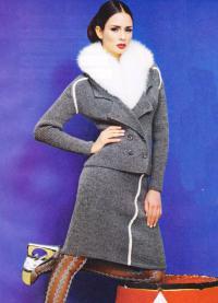 Как связать спицами классический костюм из жакета и юбки