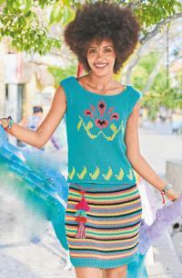 Как связать спицами комплект из топа с цветным рисунком и полосатой юбки