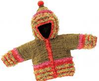 Как связать спицами детское пальто с капюшоном и бахромой