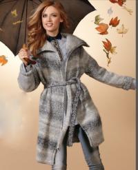 Как связать спицами пальто с большим воротником на поясе