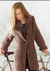 Как связать спицами теплое пальто с большими пуговицами