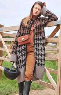 Как связать спицами удлиненное цветное пальто оверсайз