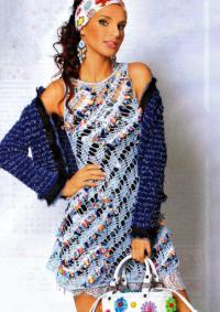 Как связать крючком ажурное платье с диагональным узором