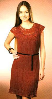 Платье крючком от кокетки женское