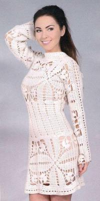 Как связать крючком короткое ажурное платье
