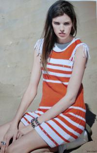 Как связать крючком полосатое платье с заклепками