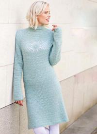 Как связать крючком простое удлиненное платье с ажурным рисунком на спине