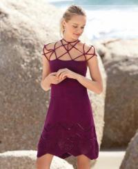 Как связать крючком трапециевидное платье с горловиной из шнурков