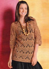 Как связать крючком коричневый ажурный пуловер