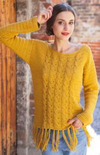 Как связать крючком пуловер с бахромой