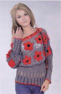 Как связать крючком пуловер с открытыми плечами и яркими цветами