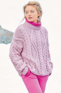 Как связать крючком пуловер оверсайз с узором из «кос»