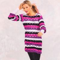 Как связать крючком пуловер из ярких полос