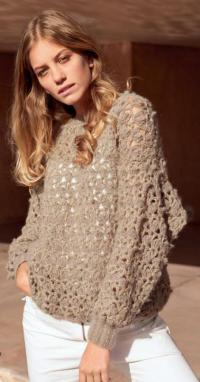 Как связать крючком рыхлый ажурный пуловер оверсайз