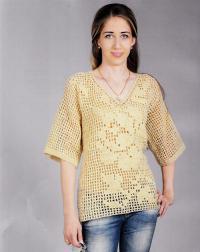 Как связать крючком удлиненный ажурный пуловер с широким рукавом