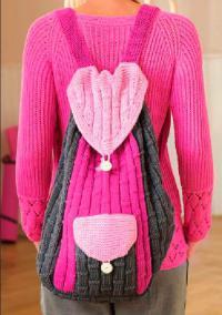 Как связать спицами цветной рюкзак с большим карманом