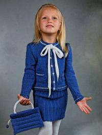 Как связать спицами детская синяя сумочка