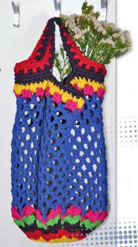 Как связать спицами сумка-авоська с цветным рисунком
