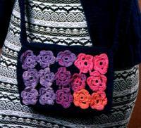 Как связать спицами сумка для девочки с цветами