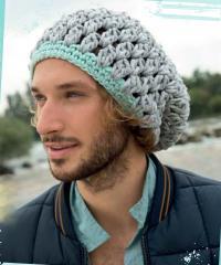 Как связать крючком ажурная шапка для мужчины
