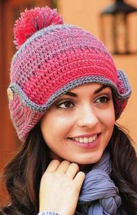 Как связать крючком меланжевая шапка с ушками