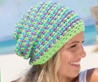 Как связать крючком разноцветная шапочка бини