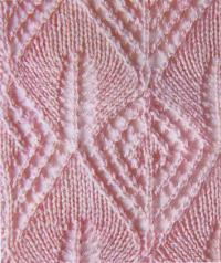 Фото узор мозаика из листьев №1336 спицами