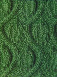 Фото узор из волн с листьями №1309 спицами