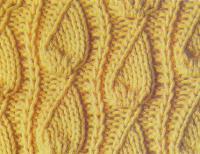 Фото узор из листьев со смещением №1328 спицами