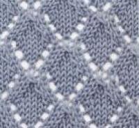 Фото узор ажурные ромбы №2034 спицами