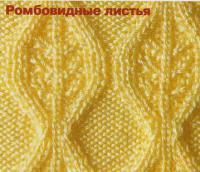 Фото узор ромбовидные листья №1318 спицами