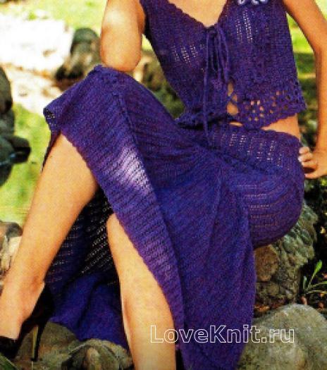 Как связать  летний укороченный топ и ажурная юбка