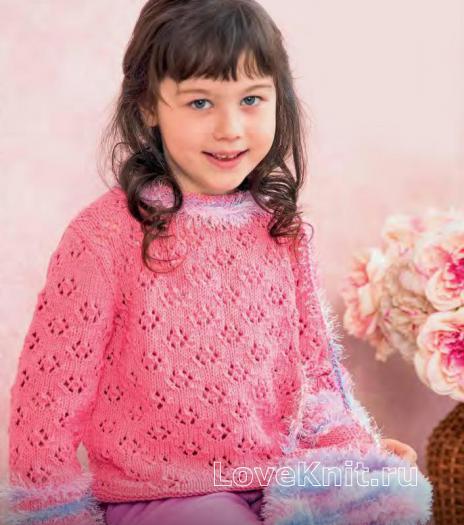 Как связать  ажурный детский пуловер с пушистыми вставками и сумочка