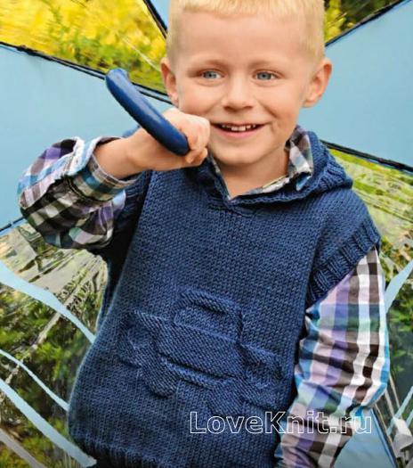 Как связать  безрукавка с капюшоном для мальчиков