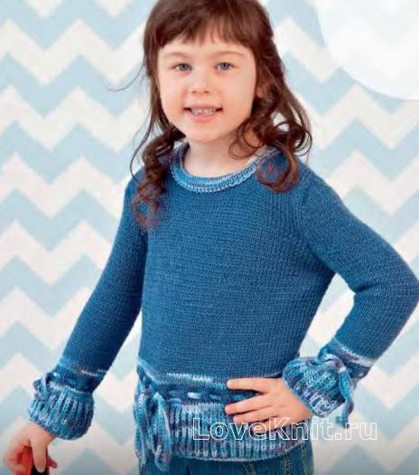Как связать  цветной детский пуловер с завязками