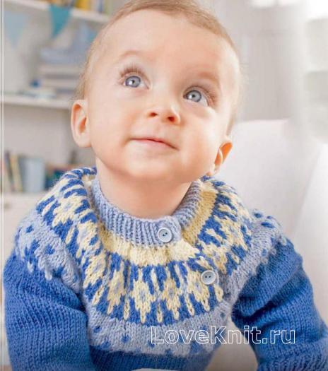 Как связать  цветной пуловер для мальчика с застежкой