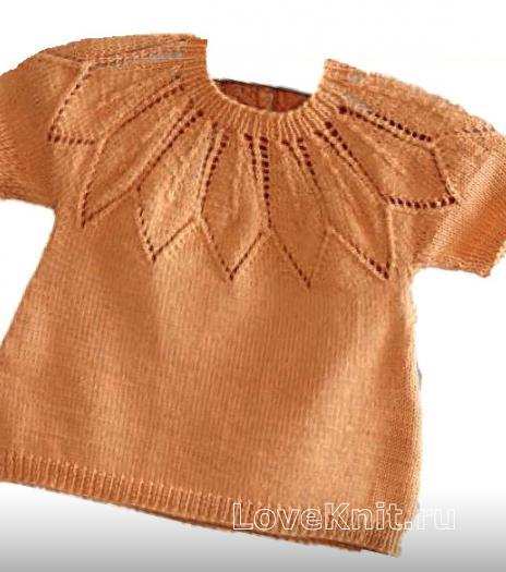 Как связать  детская кофта с ажурной кокеткой