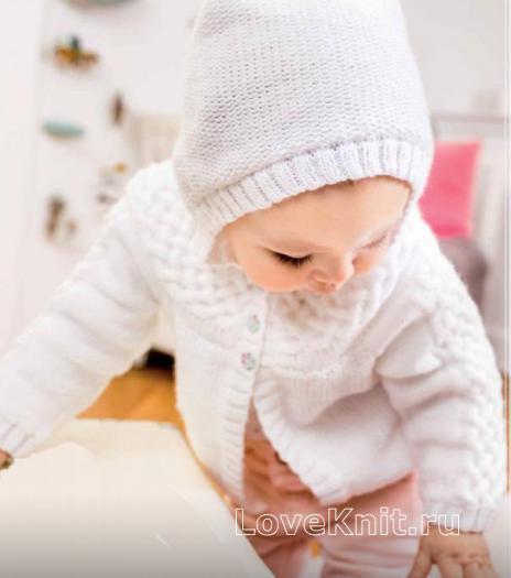 Как связать  детская кофта с капюшоном из кос