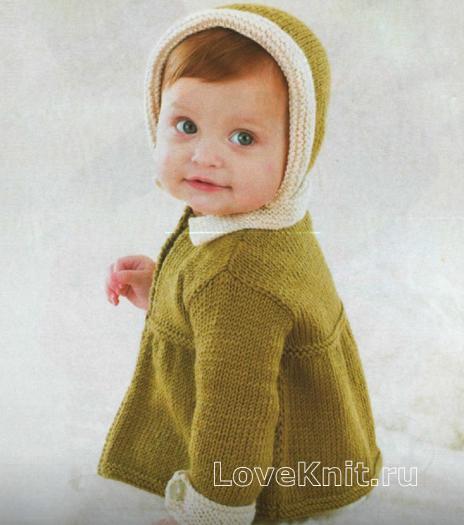 Как связать  детская кофточка с шапочкой с белой отделкой