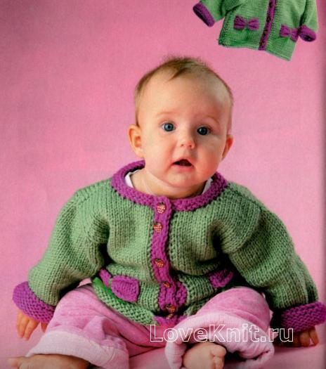 Как связать  детская зеленая кофточка с окантовкой на пуговицах