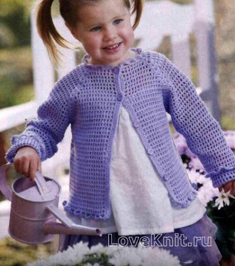 Как связать  детский ажурный жакет с оборками