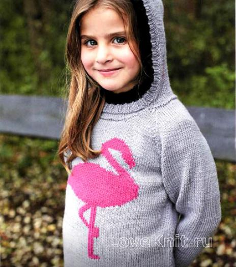 Как связать  детский джемпер с капюшоном и цветным узором