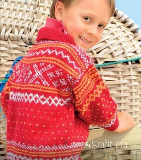 Как связать  детский джемпер с норвежским узором